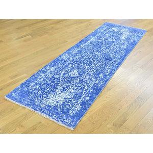 "2'5""x7'6"" Wool and Silk Hand-Knotted Broken Persian Design Runner Rug FWR195480"