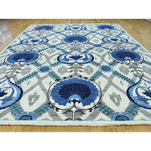 "10'x13'9"" Hand-Knotted Arts And Crafts Design Pure Wool Oriental Rug FWR197646"