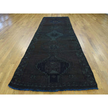 "Load image into Gallery viewer, 3'10""x12'6"" Hand-Knotted Overdyed Persian Shiraz Worn Runner Rug FWR198006"