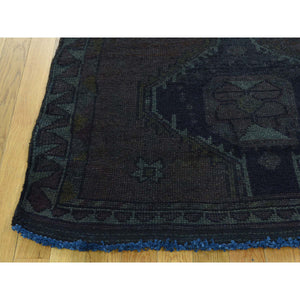 "3'10""x12'6"" Hand-Knotted Overdyed Persian Shiraz Worn Runner Rug FWR198006"