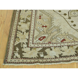 "3'8""x15' Handmade Antique Caucasian Karabakh Pure Wool Wide Runner Rug FWR199068"