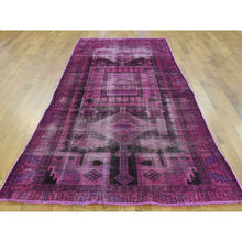 "Load image into Gallery viewer, 4'x9'5"" Pure Wool Overdyed Persian Hamadan Handmade Worn Wide Runner Rug FWR199452"