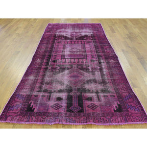 "4'x9'5"" Pure Wool Overdyed Persian Hamadan Handmade Worn Wide Runner Rug FWR199452"