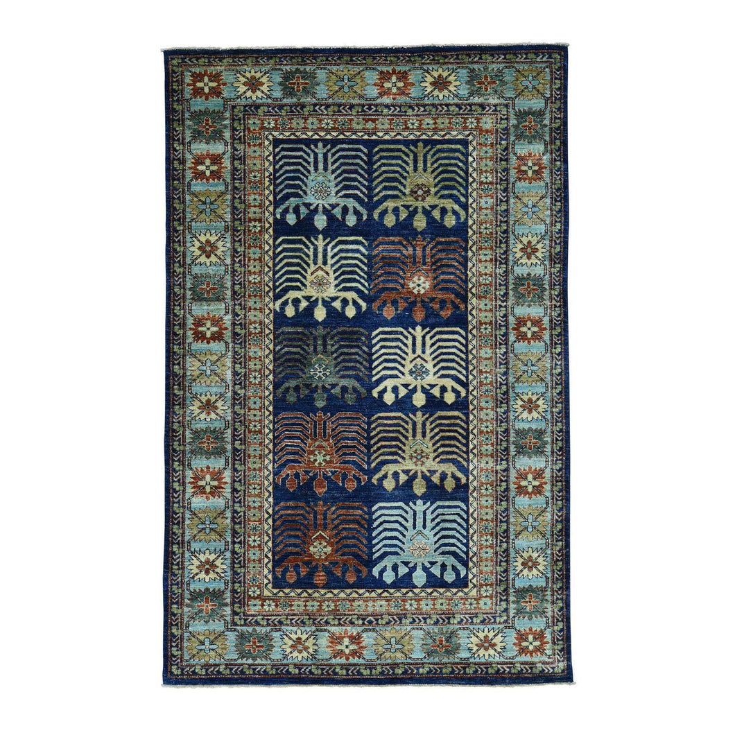 Handmade Tribal and Geometric Blue Rug