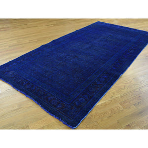"5'1""x10' Hand-Knotted Pure Wool Overdyed Sarouk Worn Wide Runner Rug FWR201726"