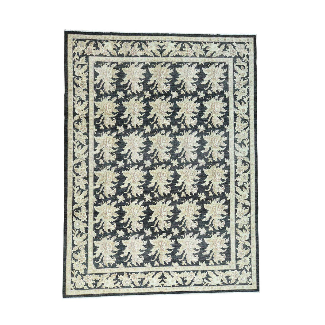Handmade Oushak And Peshawar Black Rug