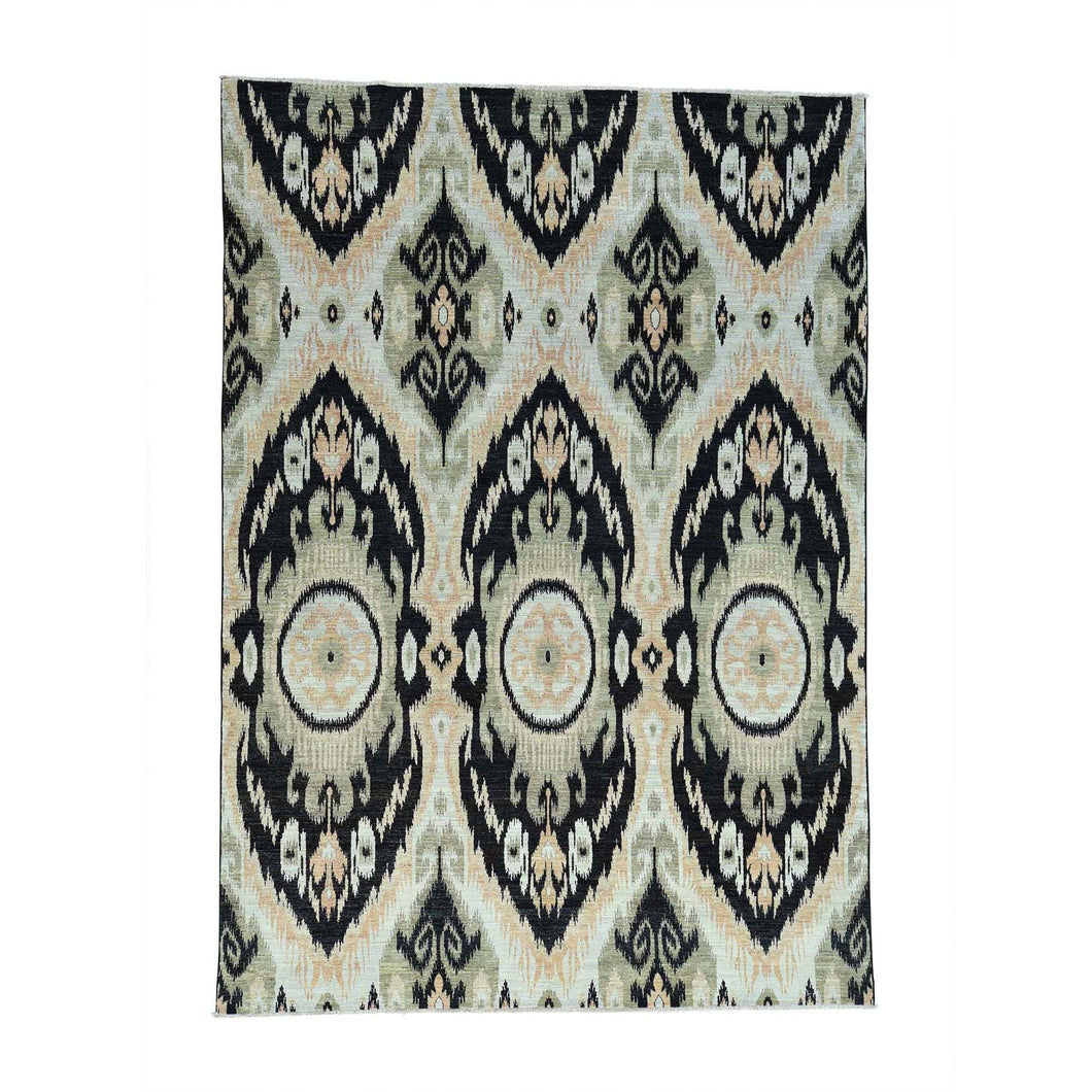 Handmade Ikat And Suzani Design Multicolored Rug