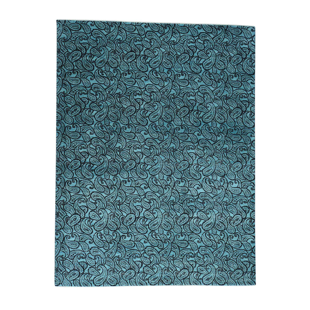 Handmade Modern and Contemporary Teal Rug