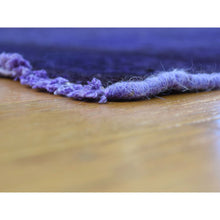 "Load image into Gallery viewer, 4'x10'6"" Hand-Knotted Purple Overdyed Hamadan Pure Wool Wide Runner Rug FWR203208"