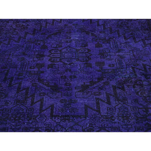 "4'x10'6"" Hand-Knotted Purple Overdyed Hamadan Pure Wool Wide Runner Rug FWR203208"