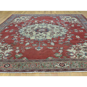 "9'x11'3"" Hand-Knotted Antique Persian Serapi Open Field Oriental Rug FWR206550"