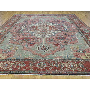 "9'5""x12'8"" Hand-Knotted Antique Persian Serapi Good Cond Even Wear Rug FWR206556"
