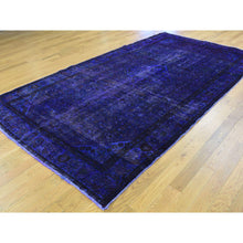 "Load image into Gallery viewer, 5'8""x10' Handmade Pure Wool Overdyed Purple Wide Runner Hamadan Rug FWR207198"