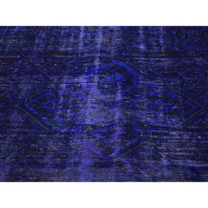 "5'8""x10' Handmade Pure Wool Overdyed Purple Wide Runner Hamadan Rug FWR207198"