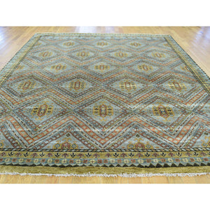 "8'x9'9"" Hand-Knotted Qashqai Design Wool and Silk Oriental Rug FWR207792"