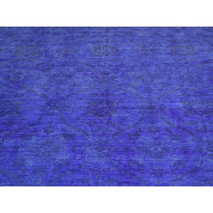 "6'8""x8'2"" Overdyed Ikat 100 Percent Wool Hand-Knotted Oriental Rug FWR208548"
