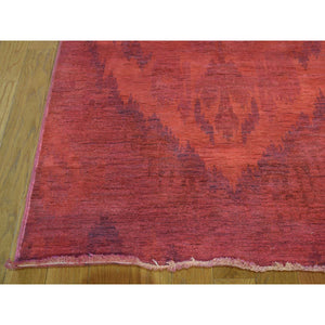 "6'2""x9'2"" Hand-Knotted Red Overdyed Ikat 100 Percent Wool Oriental Rug FWR208584"