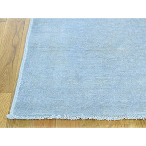 "2'7""x9'10"" Hand-Knotted Silver Wash Peshawar Pure Wool Runner Rug FWR209274"