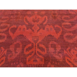 "5'2""x8'3"" Hand-Knotted Red Cast Overdyed Ikat Pure Wool Oriental Rug FWR209976"