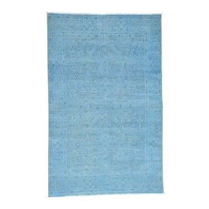 Handmade Overdyed and Vintage Blue Rug