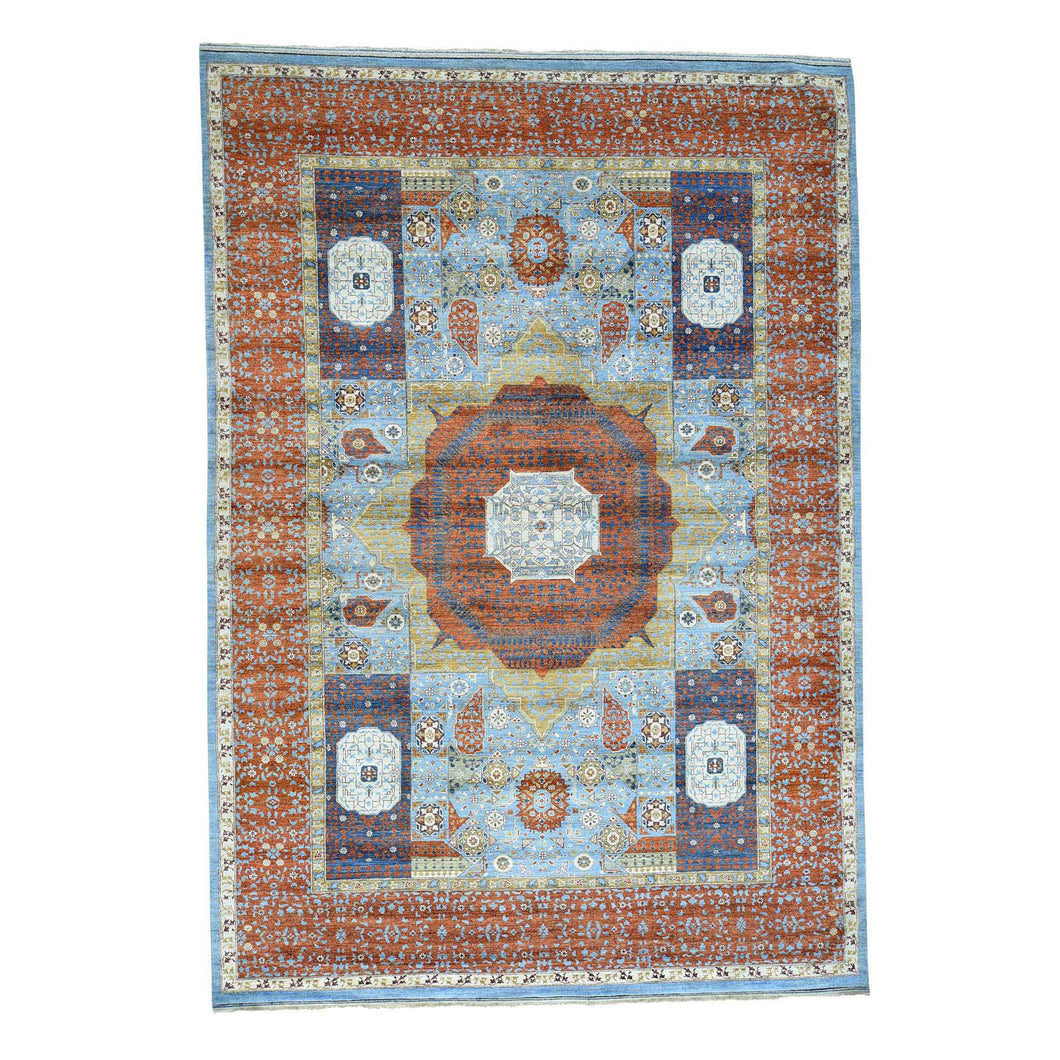 Handmade Oushak And Peshawar Blue Rug