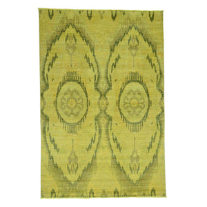 Handmade Overdyed and Vintage Yellow Rug