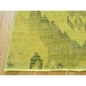 "6'2""x9'2"" Hand Knotted Gold Cast Ikat Overdyed Pure Wool Oriental Rug FWR210324"
