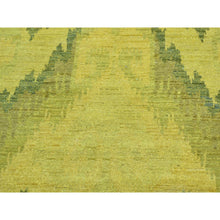 "Load image into Gallery viewer, 6'2""x9'2"" Hand Knotted Gold Cast Ikat Overdyed Pure Wool Oriental Rug FWR210324"