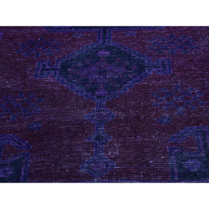 "4'1""x7'7"" Handmade Overdyed Persian Hamadan Vintage Wide Runner Rug FWR210414"