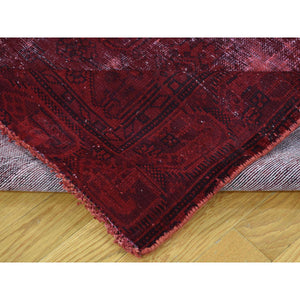 "4'1""x7'6"" Hand-Knotted Overdyed Persian Hamadan Worn Wide Runner Rug FWR210702"