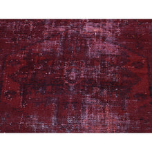 "Load image into Gallery viewer, 4'1""x7'6"" Hand-Knotted Overdyed Persian Hamadan Worn Wide Runner Rug FWR210702"