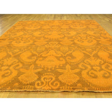 "Load image into Gallery viewer, 9'1""x12'3"" Hand-Knotted Pure Wool Orange Overdyed Ikat Oriental Rug FWR211914"