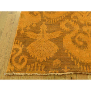 "9'1""x12'3"" Hand-Knotted Pure Wool Orange Overdyed Ikat Oriental Rug FWR211914"