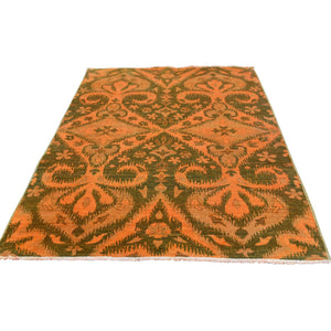 Handmade Overdyed and Vintage Orange Rug