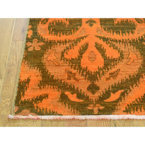 "4'1""x6'1"" Hand Knotted Orange Cast Ikat Overdyed Pure Wool Oriental Rug FWR212454"