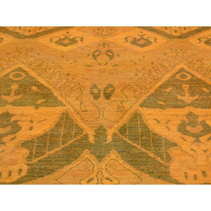 "4'1""x6'2"" Hand Knotted Orange Cast Ikat Overdyed Pure Wool Oriental Rug FWR212616"