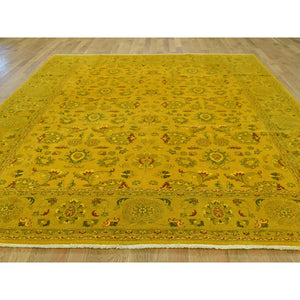"8'2""x10'1"" Pure Wool Hand-Knotted Overdyed Golden Brown Oriental Rug FWR216510"