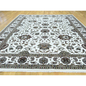 "9'x11'10"" Wool and Silk Hand-Knotted 250 KPSI Indo Persian Kashan Oriental Rug FWR216930"