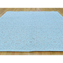 Load image into Gallery viewer, 9'x12' Textured Wool Hi and Low Pile Oushak Design Seafoam Green Rug FWR218484