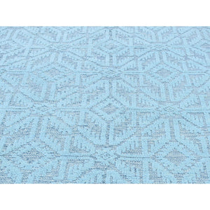 9'x12' Textured Wool Hi and Low Pile Oushak Design Seafoam Green Rug FWR218484