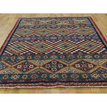 "Load image into Gallery viewer, 5'7""x8' Super Kazak Khorjin Hand-Knotted Pure Wool Oriental Rug FWR219654"