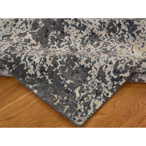 9'x11'8'' Hand-Knotted Wool and Silk Abstract Design Modern Rug FWR222852