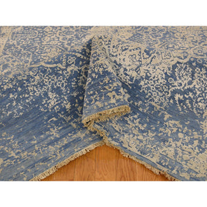 6'1''x9' Denim Blue Wool and Pure Silk Hand-Knotted Broken Persian Design Rug FWR229338
