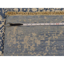 Load image into Gallery viewer, 6'1''x9' Denim Blue Wool and Pure Silk Hand-Knotted Broken Persian Design Rug FWR229338