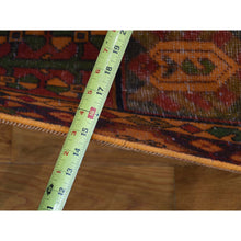 Load image into Gallery viewer, 4'10''x9'6'' Hand Knotted Vintage Overdyed Persian Bakhtiari Wide Runner Rug FWR232062