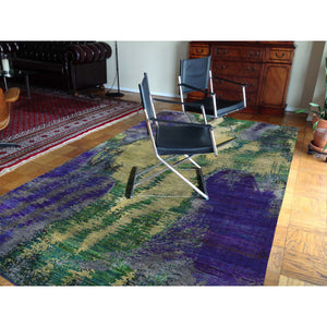 5'x7' Hand Knotted Multicolored Sari Silk Abstract Design Oriental Rug FWR232320