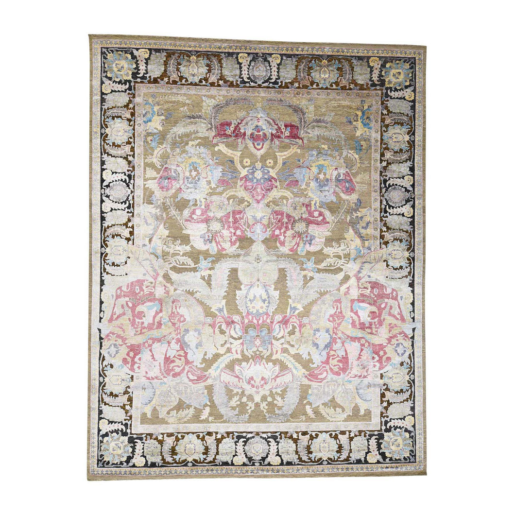 Handmade Arts And Crafts Beige Rug