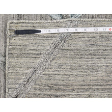"Load image into Gallery viewer, 6'x8'10"" Hand Loomed Wool and Silk Modern Arrow Design Grey Hi-Lo Pile Rug FWR237240"