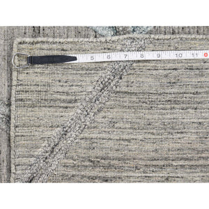 "6'x8'10"" Hand Loomed Wool and Silk Modern Arrow Design Grey Hi-Lo Pile Rug FWR237240"