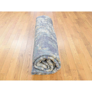 "8'x9'10"" Abstract Design Wool and Silk Hi-Lo Pile Hand-Knotted Rug FWR237300"